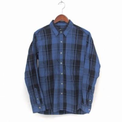 【中古】ビームスハート BEAMS HEART シャツ ステンカラー チェック 長袖 胸ポケット S ブルー /ST13 メンズ