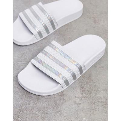 アディダス adidas Originals レディース サンダル・ミュール シャワーサンダル シューズ・靴 adilette sliders in white and silver ホワイト