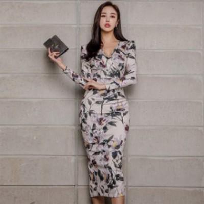 ワンピース ドレス タイトドレス Vネック 長袖 膝丈 ミドル丈 キャバ シンプル ボールド 韓国ファッション セクシー 二次会