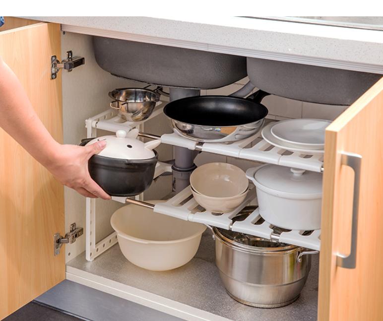 居家家可伸縮水槽下置物架廚房用品家用大全鍋架子櫥櫃多層收納架