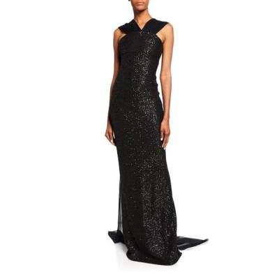 セント ジョン コレクション レディース ワンピース トップス Sequin Statement Sleeveless Gown with Silk Chiffon Train