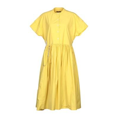 HIGH by CLAIRE CAMPBELL 7分丈ワンピース・ドレス イエロー 40 コットン 100% 7分丈ワンピース・ドレス