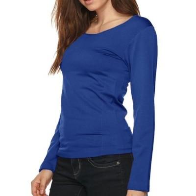 レディース 衣類 トップス Women Long Sleeve Stretch Round Neck Solid Stretch Seamless Shirt Tシャツ