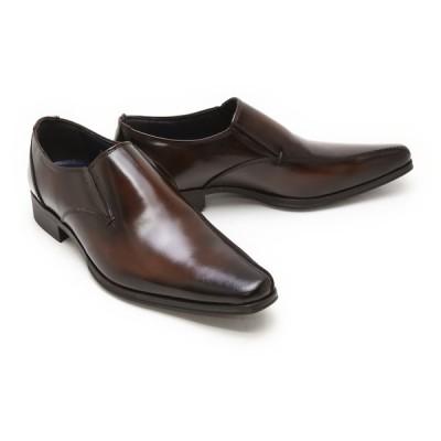 ビジネスシューズ 本革 サイドエラスティック 本革 ビジネスシューズ クインクラシコ QueenClassico ドレスシューズ 紳士靴 51003br ブラウン(茶色) バンプ