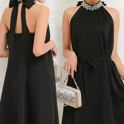 GeeRA リボンベルト付ビジュー使いドレス ブラック ~7号 レディース