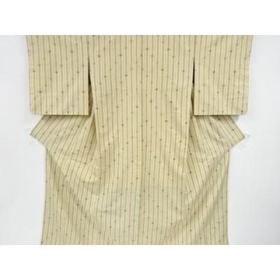 リサイクル 縞模様織り出し手織り真綿紬着物