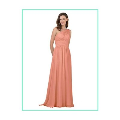 Alicepub One Shoulder Bridesmaid Dress for Women Long Evening Party Gown Maxi, Peach Pink, US0並行輸入品