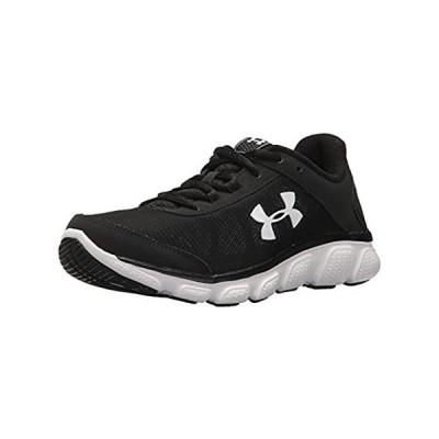 並行輸入品 Under Armour Women's Micro G Assert 7 Wide Running Shoe, Black (001)/White,
