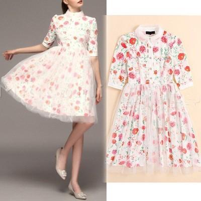 半袖襟つき☆ビジューレース♪フラワープリントチュチュドレス