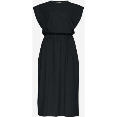 ナイティーパーセント NINETY PERCENT レディース ワンピース ワンピース・ドレス Elasticated-waist organic cotton midi dress BLACK