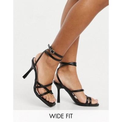 レイドワイドフィット レディース サンダル シューズ Raid Wide Fit Exclusive Sonia strappy sandals in black Black pu