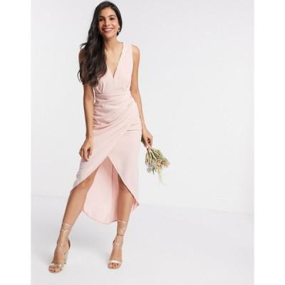 ティーエフエヌシー ミディドレス レディース TFNC Bridesmaid v neck midi dress in pink エイソス ASOS ピンク