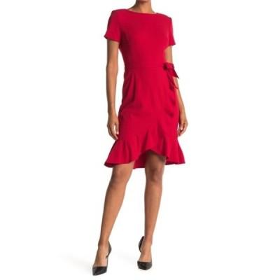 カルバンクライン レディース ワンピース トップス Belted Ruffle Hem Dress RED