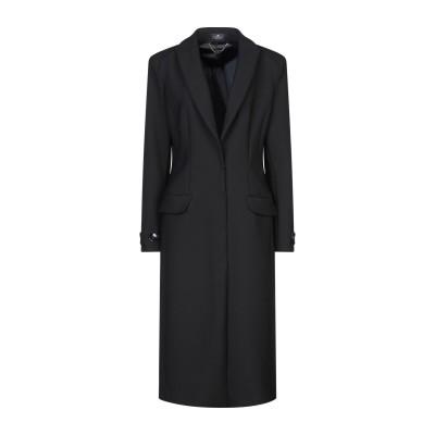 ELISABETTA FRANCHI コート ブラック 44 ポリエステル 53% / バージンウール 44% / ポリウレタン 3% コート