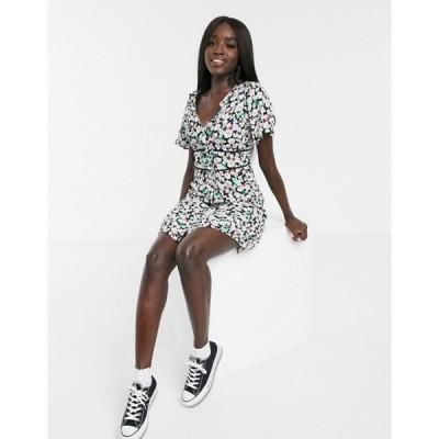 オアシス レディース ワンピース トップス Oasis button through frill skater dress in floral print