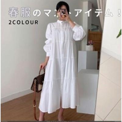 シャツワンピース おしゃれ ロングワンピース 人気 可愛い 韓国ファッション