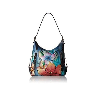 Anna by Anuschka Hand Painted Leather Women's Shoulder HOBO, midnight flora