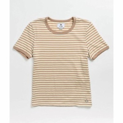ジン ZINE レディース Tシャツ トップス Zine Phinney Brown and Tan Stripe T-Shirt Natural