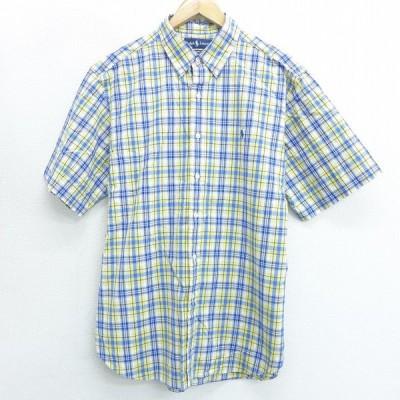 XL/古着 半袖 ブランド シャツ 90s ラルフローレン Ralph Lauren ワンポイントロゴ コットン ボタンダウン 黄他 イエロー チェック 21mar19 中古 メンズ トップ