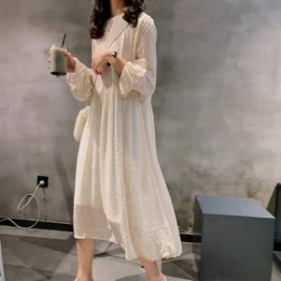 オルチャン 韓国 ファッション レディース ワンピース ワンピ ロング マキシ ドット柄 フレア ハイウエスト 長袖 ゆったり 大人可愛い