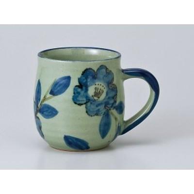 コーヒー カップ コップ/ 染付山茶花 マグ /業務用 家庭用 人気 ギフト 贈り物 カフェ 花 フラワー おしゃれ かわいい インスタ