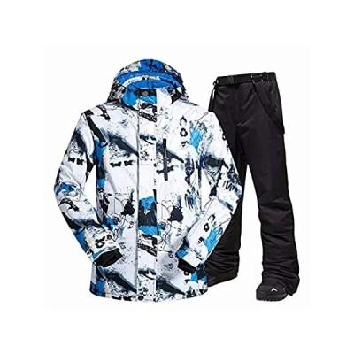 Decathee メンズ スキー スノーボード ジャケット パンツ 防水 冬 山 暖かい スノージャケット コート ビブ US サイズ: Small