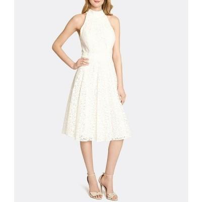 タハリエーエスエル  レディース ワンピース トップス Mock Neck Sleeveless Lace Fit & Flare Midi Dress
