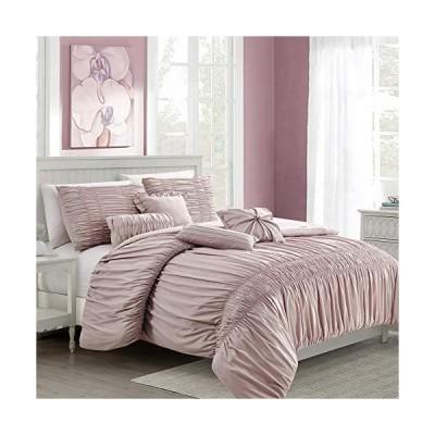 Pro Space Bedding Comforter Set Bed in A Bag - 7 Piece Luxury Textured Microfiber Bedding Sets - Oversized Bedroom Comforters, Queen Size, P
