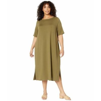 エイリーンフィッシャー ワンピース トップス レディース Plus Size Roundneck Dress Olive