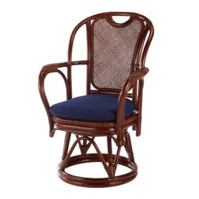【レビューを書いてポイント5%GET】 籐 回転座椅子 クッション付 アジロ編座面 シィーベルチェアー 座面高42cm ( ラタンチェア ラタン