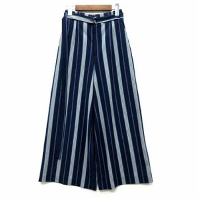 【中古】ロペピクニック ROPE Picnic 裾が汚れない ハイウエスト ワイド パンツ ゴムウエスト ネイビー グレー 38 GDS1750 美品