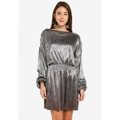 トップショップ Topshop レディース パーティードレス ミニ丈 ワンピース・ドレス Metallic Plisse Mini Dress Silver