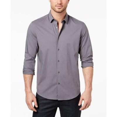 アルファニ シャツ トップス メンズ Men's Stretch Modern Solid Shirt New Grey