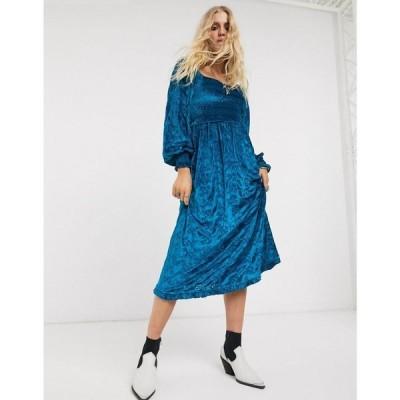 エイソス ASOS DESIGN レディース ワンピース ミドル丈 ワンピース・ドレス velvet broderie shirred midi dress in blue ブルー