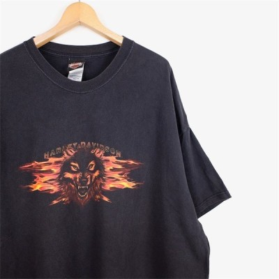 古着 大きいサイズ 00's USA製 ハーレーダビッドソン 半袖両面プリントTシャツ メンズUS-4XLサイズ ファイヤーウルフ ブラック オフィシャル t-1975n