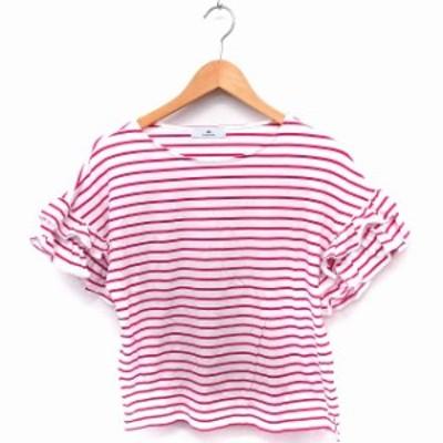 【中古】アーバンリサーチ サニーレーベル URBAN RESEARCH Sonny Label Tシャツ カットソー ボーダー フリル 丸首 半袖