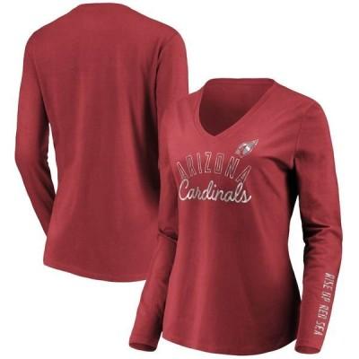 ファナティクス ブランデッド レディース Tシャツ トップス Arizona Cardinals Fanatics Branded Women's Iconic All Out Glitz V-Neck Long Sleeve T-Shirt