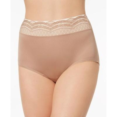 ワーナーズ Warner's レディース ショーツのみ インナー・下着 No Pinching No Problems Lace-Waist Brief Underwear RS7401P Toasted Almond