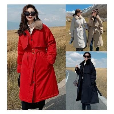全4色 ロングコート 裏ボア付き 体型カバー 着痩せ 切り替え 毛襟 大きいサイズ