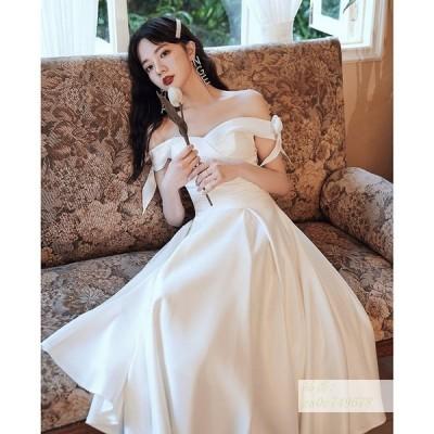 ウェディングドレス 結婚式 二次会 ホワイト 花嫁 白ワンピース ウエディング オフショルダー リボン ミディアム丈ドレス 披露宴 編み上げ ファスナー 前撮り