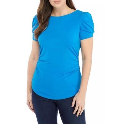 クラウン&アイビー シャツ トップス レディース Women's Short Sleeve Ruched T-Shirt  Blue Radiance