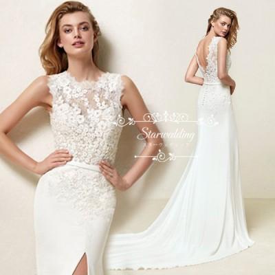 ウェディングドレス マーメイドドレス 白 ロングドレス 花嫁ドレス トレーン パーティードレス 花嫁 二次会 ブライダルドレス スリット セクシー 小きいサイズ