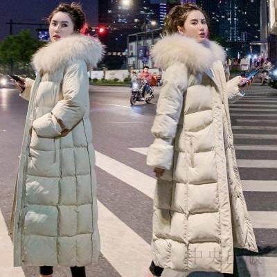 レディース棉コート ロング 防寒 2020冬新型大きいサイズ毛の襟付き棉コートゆったり 長め膝超す棉コード1