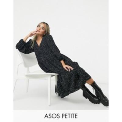 エイソス レディース ワンピース トップス ASOS DESIGN Petite textured tiered midi smock dress in polka dot Black/white spot