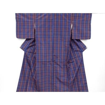 宗sou 未使用品 格子織り出し米沢紬着物アンサンブル【リサイクル】【着】