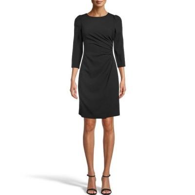 アンクライン レディース ワンピース トップス Ruched Side 3/4 Sleeve Textured Crepe Sheath Dress