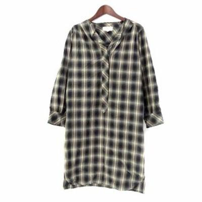 【中古】ISABEL MARANT ETOILE シャツ ワンピース 1 S 茶 ブラウン 黒 ブラック コットン 長袖 ひざ丈 チェック