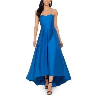 ベッツィ アンド アダム ワンピース トップス レディース Strapless High-Low Gown Ocean Blue