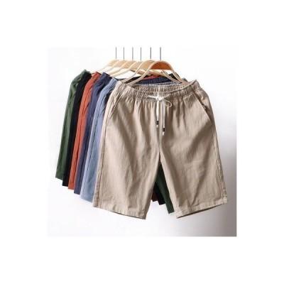 ハーフパンツ メンズ ショートパンツ 短パン 膝上 五分丈 半ズボン ズボン ボトムス パンツ ウエストゴム カジュアル リラックス 夏