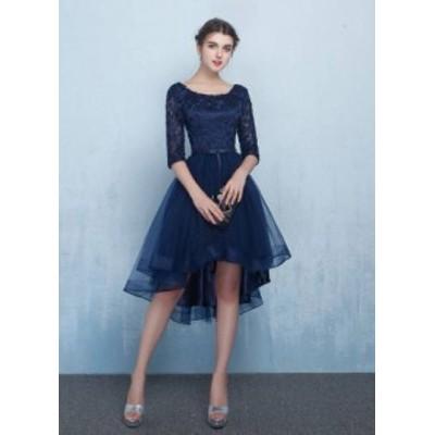 レースアップ ショートフロント ネイビードレス フィッシュテールスカート 透け感 花柄刺繍 綺麗 おしゃれ 可愛い 上品 清楚 デート